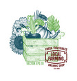 wooden crate full of organic food hand vector image