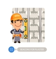 Worker Installing Beacons for Plaster vector image vector image