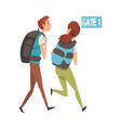 young man and woman running with their backpacks vector image vector image