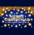 christmas lettering with golden stars merry vector image