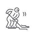 hockey player flat line concept vector image