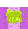 2014 - Happy New Year card in neon style vector image vector image