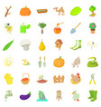 agriculture farm icons set cartoon style vector image vector image