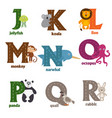 alphabet with animals j to r vector image vector image