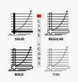 arrow chart curve experience goal icon in thin vector image vector image