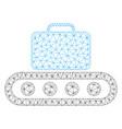 baggage conveyor mesh wire frame model vector image vector image