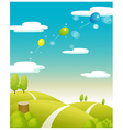 Balloons flying Green landscape vector image