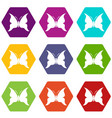 big butterfly icons set 9 vector image vector image
