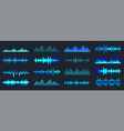 blue colorful sound waves collection analog vector image vector image