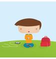 Boy Meditating vector image vector image