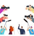 broadcast interview tv journalists with camera vector image vector image