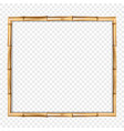 brown wooden frame made of realistic brown bamboo vector image