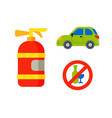 car vehicle transport type with fire extinguisher vector image vector image