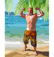 cartoon male athlete posing on a tropical shore vector image vector image
