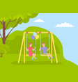 children spending time at playground kindergarten vector image vector image