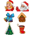 Christmas characters and gifts vector image vector image