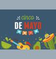 cinco de mayo guitar avocado cactus lemon mexican vector image vector image