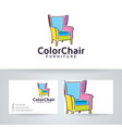 color chair furniture logo vector image vector image
