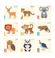 Cute zoo alphabet with animals in cartoon style vector image vector image