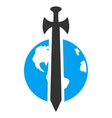 Earth Military Protection Icon vector image vector image