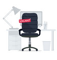 empty office chair with vacant sign employment vector image