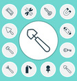 equipment icons set collection of harrow vector image vector image