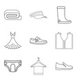 fashion clothes icon set outline style vector image vector image