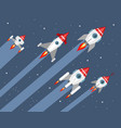 five rockets in space vector image vector image