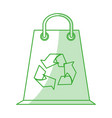 flat line monocromatic paper bag with recycle vector image