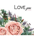 floral card design with rose flower leaves herbs vector image vector image