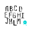 Grunge uneven handwritten alphabet set 1 vector image