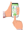 hand holding phone with internet pharmacy app vector image vector image