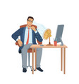 heat in office man at workplace blowing ventilator vector image