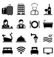 Hotel resort and hospitality icon set