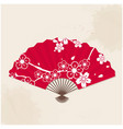 japanese fan sakura painting red background vector image