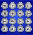Matallic media player audio video icon circle vector image