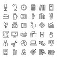 office signs black thin line icon set vector image vector image