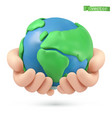 planet earth in hands icon 3d object handmade vector image
