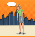 pop art depressed young woman in the city vector image vector image