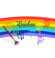 rainbow painting background with paint brush vector image