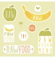 Raw vegan labels vector image