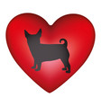 red heart shape with black figure small dog animal vector image
