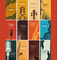set of business cards with musical instruments vector image