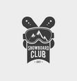 Snowboard club logo label or badge template