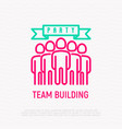 team building party thin line icon vector image vector image