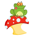 Tree Frog On A Toadstool Or Mushroom vector image vector image