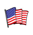 usa flag on flagpole isolated icon vector image vector image