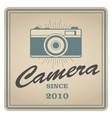 vintage emblem of retro photo camera vector image