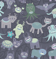 Funny monsters seamless pattern on dark background vector image