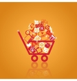 Basket with shopping vector | Price: 1 Credit (USD $1)